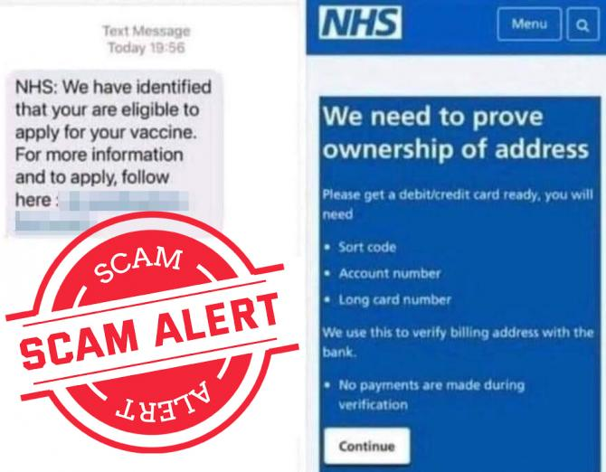 NHS Scam Text Example