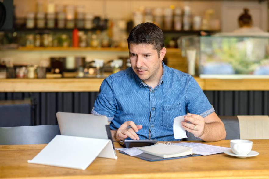 Small business owner with Ipad